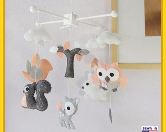Baby Mobile, Woodland Friends Mobile, Modern Mobile, Owl Squirrel Deer Bird Bunny Tree, Coral White Gray, Custom Mobile