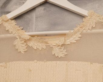 Boho bohemian wedding dress - embroidered dress - sequined dress - short wedding dress - bridal gown - chiffon dress- size 16