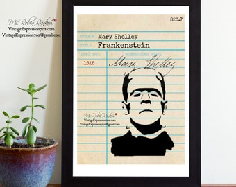 Frankenstein, Mary Shelley, Vintage Library Card Art, Book Art, Silhouette, Print