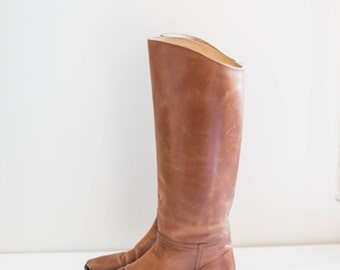 caramel brown leather riding boots - cat's paw - high calf - women's size 7
