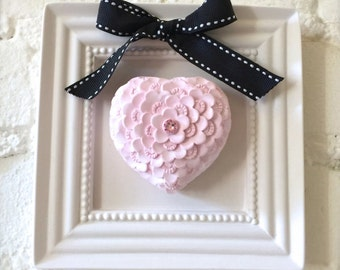 Handmade Home Decor, Framed 3D Pink Heart Stone Wall Decor, Fragrance Stone Object, Aroma Scent Stone