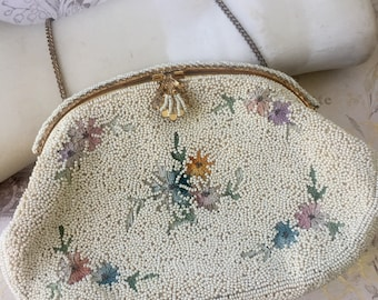 Vintage Micro Bead Embrodiered Evening Purse Made in France, Vintage French Handbag 1940s