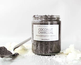 Coconut Charcoal Face Scrub for Men | Mens Grooming | Father's Day Gift, Gifts for Dad | 100% natural and vegan scrub for men