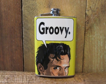 GROOVY Flask, Evil Dead Gift, Stainless Steel Flask, Vinyl Wrapped, Geeky Gift Idea, Horror Fan Gift Idea, Bruce Campbell, Swallow This