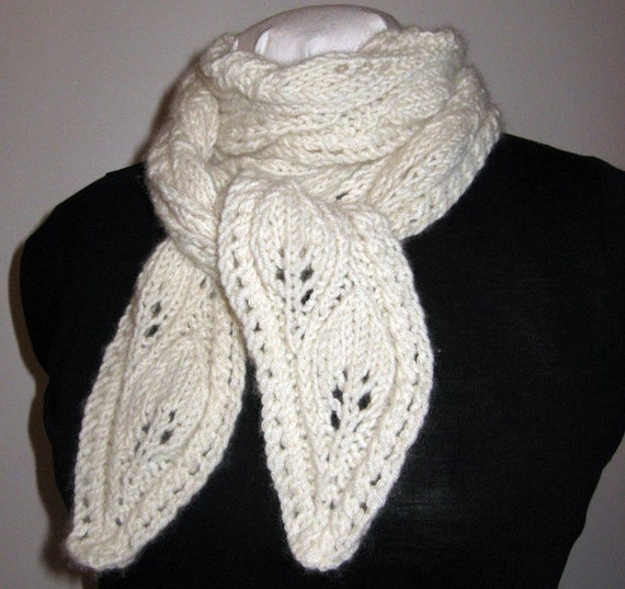 Lacy Cashmere Scarf, Hand Knit, Cascading Leaves, Natural Color, Mongolian Cashmere, Handmade, Super Soft, Creamy White, Designer Original