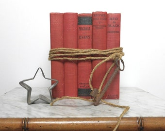 Vintage Red Book Set of 5 for Home Decor Christmas Wedding Craft Supplies