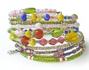 Memory wire bracelet, beaded bracelet, multi-strand beaded jewelry, summer jewelry, boho chic style