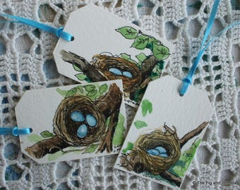 Easter Nest and Eggs Tags - Handpainted Assorted Set of Six