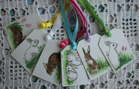 Easter Bunny Rabbit Tags- Handpainted Assorted Set of Six