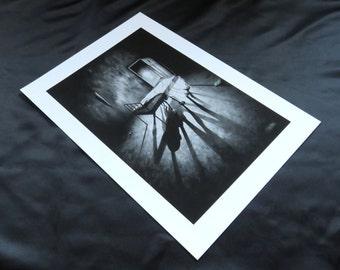 Small print of Stephen Under The Bed, giclee print, horror art, horror print, fantasy art, monster art, monster print, black and white