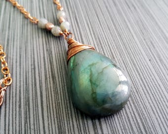 Cloudy Day Copper Wire Wrapped Natural Big/Huge/ Large Blue/ Green Flash Natural Geometrical Shaped Labradorite Gemstone Pendant Necklace