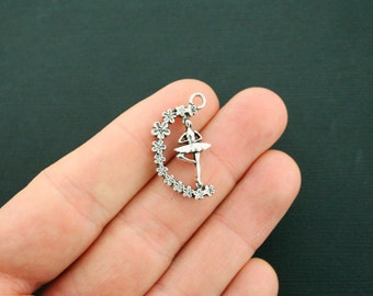 4 Ballerina Charms Antique Silver Tone Delicate 3D Detailing - Rotating Charm - Really Spins! - SC6402