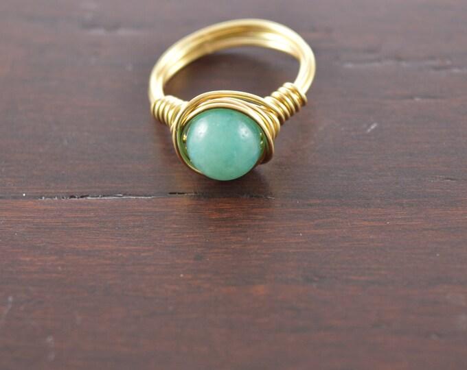 Amazonite Wire Gemstone Ring