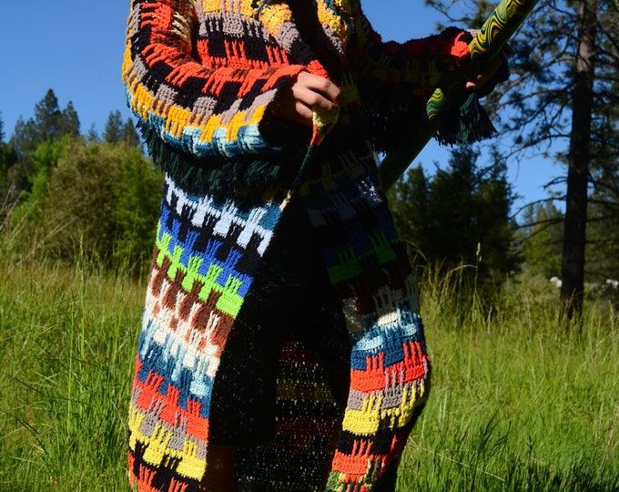Crochet Sweater Robe Cosmic Stripes and Fringe