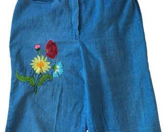 Flower Child Pants // 70s Embroidered High Waisted Wide Leg Pants with Braided Waist