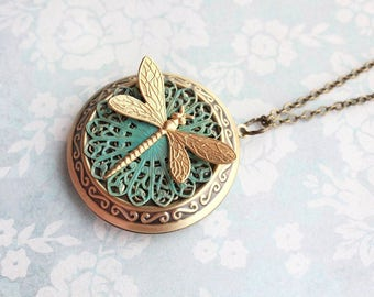 Gold Dragonfly Necklace Rustic Verdigris Patina Filigree Locket Necklace Large Round Photo Locket Pendant Gift for Mother Forever Keepsake