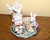 Rabbit Postman Ornament - Bunny and Postbox - Rabbit, Squirrel and Bird at Letterbox - Golden Rose Giftware