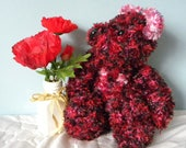 "Hand Knitted Teddy for Collectors - 15"" Knitted Bear - Red and Black Handknitted Bear"