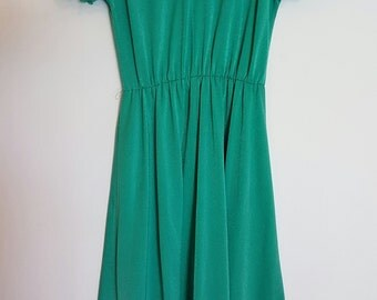 Vintage 1970's bright green evening dress