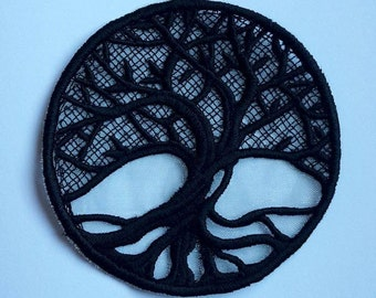 UK Pagan , Bodhi Tree, Eden's Tree, Tree of Life, lace applique, patch, altar cloth