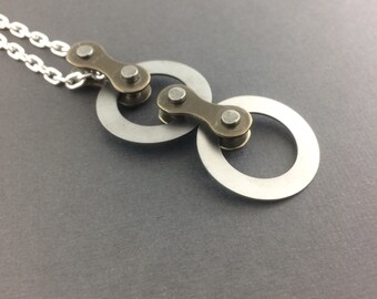 Mod bike chain necklace, circle bicycle jewelry, cycling accessories, steel bicycle necklace, fixie jewelry, mtb necklace, bmx accessories