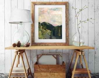 "Aspen Print, Mixed Media Print, Colorado Print, Landscape Print, Aspen Colorado Gift, Mountain Print 8""x10"" or 11""x14"", ""Road to Aspen"""