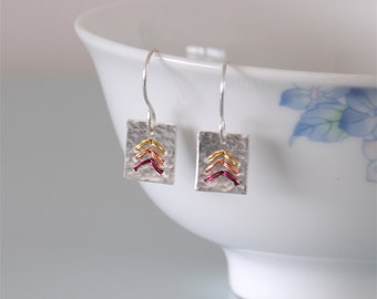 Silver Chevron Earrings - Square Red Orange Yellow Wire Wrapped Sterling Silver Hammered Metalwork Jewellery by Emma Dickie Design