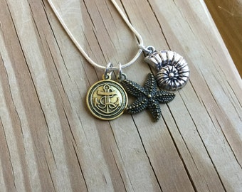 SALE- Beach Charm Necklace  - only 1 available