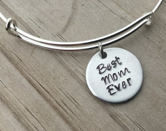 """SALE- Quote Bangle Bracelet- """"Best Mom Ever""""- hand-stamped bracelet- only 1 available"""
