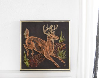 wall hanging christmas reindeer deer metal string art sculpture / folk art / copper