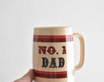 vintage white ceramic number 1 dad coffee mug / father's day gift