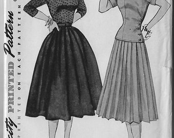 Vintage Sewing Pattern Simplicity 3969 1950s Skirt, Blouse, Overblouse