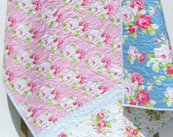 Girl Quilt, Toddler Bedding, Crib Blanket, Roses Tanya Whelan, Pink Baby Blue, Nursery Decor, Flowers Shabby Chic Cottage, Pastel Baby Decor