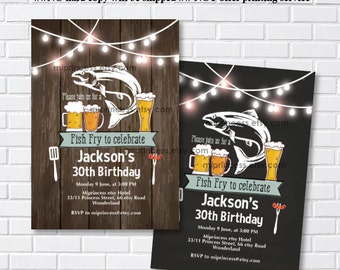 Fish Fry party, birthday fish fry Invitation, Chalkboard Backyard, Barbecue Fish Fry , any age, 30th 40th 50th 60th 70th 80th - card 1100
