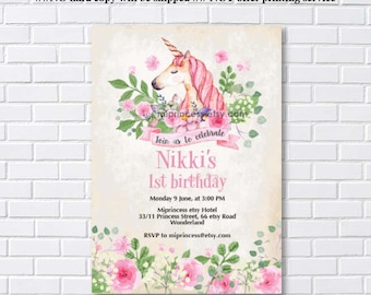 Unicorn invites, Birthday Invitation, unicorn girl birthday party for any age 1st 2nd 3rd 4th 5th 6th 7th 8th 9th 10th- card 1103
