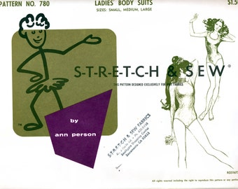 Stretch & Sew 780 Vintage 60s Sewing Pattern for Ladies' Body Suit - Uncut - Bust 30, 32, 34, 36, 38, 40