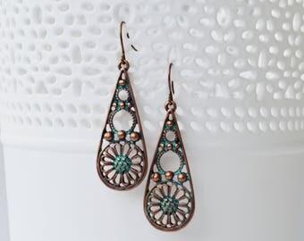 SALE - Vintage Copper Earrings, Lace Teardrop Earrings, Boho Chic Dangle Earrings, Gift For Her