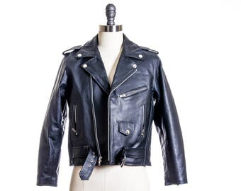 70s  Leather Motorcycle Biker Jacket Size 2/4 XS/S