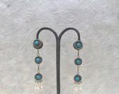Vintage Style Snake Eye Zuni Earrings | Sterling Silver Dangly Earrings with Tassels | Turquoise and Silver Earrings by Al Lementino