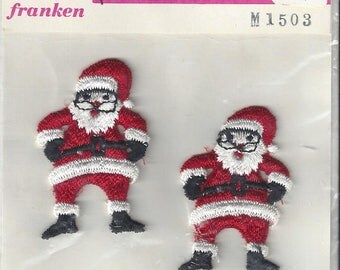 Vintage Franken Sew On Santas Embroidered Appliques (2 in pkg), 1960s