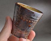 Espresso Cup Ready To Ship Dark Brown Sheet Metal Coffee Mug by Symmetrical Pottery