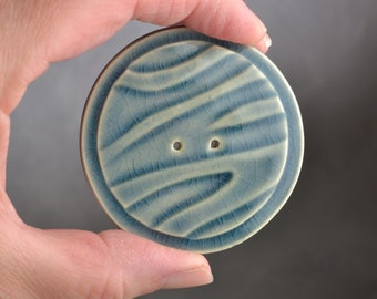 Large Ceramic Button Ready To Ship Blue Gray Stamped 2 Hole Button by Symmetrical Pottery