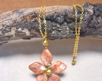 Wired Glass Flower Necklace featuring fancy Czech Glass Petals and Gold Freshwater Pearls on a Brass Chain - Golden Freesia Blossom Necklace