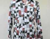 Vintage 1970s Shirt / 70s Mens Stained Glass Print Disco Shirt / Large