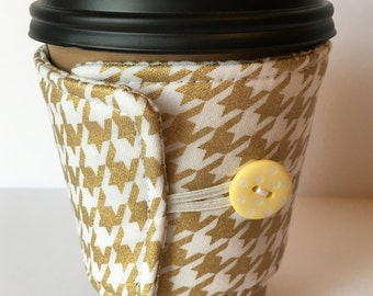 Coffee Cozy - Gold Metallic and White Houndstooth Coffee Sleeve - Reusable Coffee Sleeve