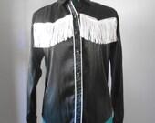 Vintage 1980s BANJO black metallic western fringe button-down blouse, size Medium