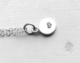 Mini Heart Necklace, Sterling Silver, Hand Stamped Jewelry, Heart Jewelry, Sterling Silver Heart Necklace, Everyday Jewelry, Tiny Jewelry