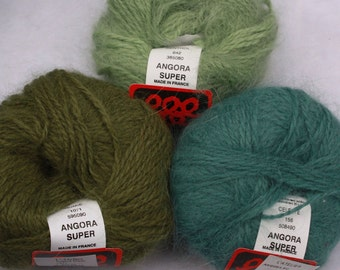 Angora Super Laines Anny Blatt 25g weight made in France colors Menthol Iguane and Celeste