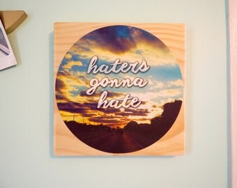 Haters Gonna Hate - Daily Inspiration Tile#2- Wood & Fabric Wall Art