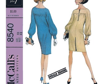 McCall's 8540 Women's 60s Chemise  Dress Designer Donald Brooks Sewing Pattern Bust 34, Size 12